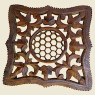 Vintage Hand Carved Wooden Trivet, Honeycomb Center