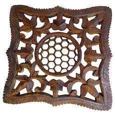 Vintage Hand Carved Wooden Trivet, Honeycomb Center