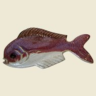 "Vintage Leon Kula 8"" Red Dolphin Fish Art Pottery Bowl, Key West"