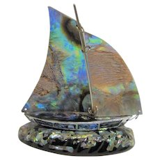 Hand Made Inlaid Abalone and Alpaca Silver Sailing Ship, Made in Mexico, Mint