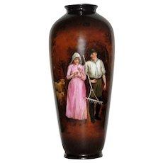 Exquisite Antique Germanic Hand Painted Vase w/Portrait of Pastoral Couple