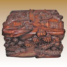 Vintage High Relief Wood Carving Box Chest, Hand Carved Village Scene, Bali Tropical Décor