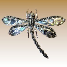 "2 3/4"" Sterling, Abalone & Marcasite Dragonfly Pin Pendant, Beautiful!"