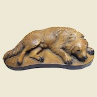 "9"" Vintage Chalk Ware Sleeping Hunting Dog Sculpture"