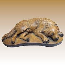 "9"" Vintage Chalk Ware Sleeping Hunting Dog Sculpture"