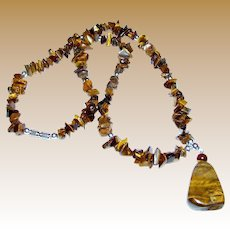 """18"""" Tumbled Tigers Eye Chip Pendant Necklace"""