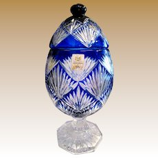 Huge Ajka Limited Editon Magda Nemeth Cobalt Cut to Clear Urn