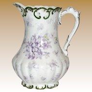 Victorian Austrian Porcelain Cream Pitcher w/ Flowers & Gilding