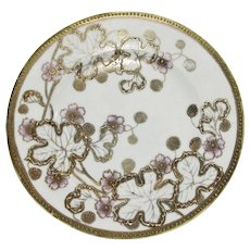 """Antique 7"""" Noritaki Nippon Moriage Plate, Hand Painted w/ Raised Gold Leaves"""