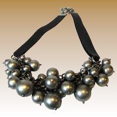 Stylish Bunchy Pewter Tone Bead & Leather Runway Necklace