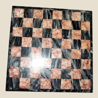 Vintage Marble Chess Board 10x10, Black and Orange Marble