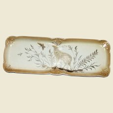 Rare 18th Century Serving Dish, Gilt on Cream w/ Gray Meadow Stag & Butterfly