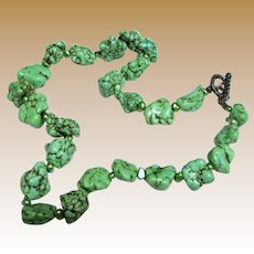"""Aqua Green Dyed Howlite & Cultured Freshwater Pearl 20"""" Necklace"""