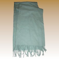 "Densely Woven Aqua Blue Wool 56"" Fringed Scarf"