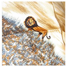 """Lion King"" Silk Twill 22"" Square Scarf w/ Rolled Edges"