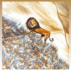 """""""Lion King"""" Silk Twill 22"""" Square Scarf w/ Rolled Edges"""