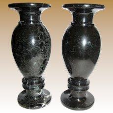 """Elegant Pair of 8"""" Black Marble Mantle Vases"""
