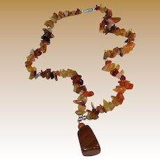 "16"" Tumbled Carnelian Chip Pendant Necklace"