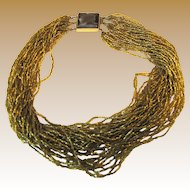 "18"" Golden Glass Micro Bead Necklace, 36 Strands!"