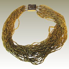 """18"""" Golden Glass Micro Bead Necklace, 36 Strands!"""