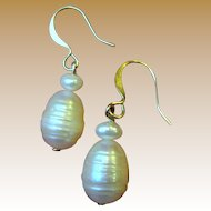 Cultured Freshwater Baroque Pearl Earrings
