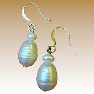 Cultured Freshwater Ribbed Pearl Earrings