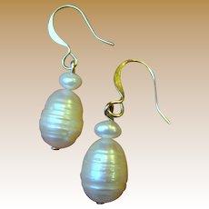 Cultured Freshwater Baroque Pearl Earrings