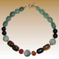 Hardstone Shou Bead, Serpentine, Agate, Faceted Carnelian & Tigers Eye Necklace