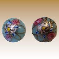 Vintage Italian Art Glass Wedding Cake Earrings w/ Post Fittings