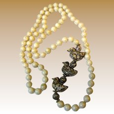 """30"""" Hand Knotted Jasper Necklace w/ Carved Little Birds"""
