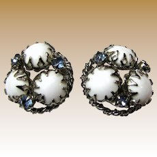Milk Glass & Aqua Crystal Silvertone Clip Back Earrings