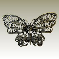 "Huge 2 1/2"" Brass Filigree Butterfly Ring, Size 9"