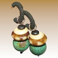 Vintage Copper, Chinese Turquoise & Carved Bone Ethic Earrings