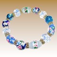 Vintage Art Glass Stretch Bracelet w/ Handmade Floral Beads