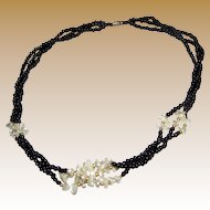 "20"" Black Glass & Faux Pearl Elegant Necklace"