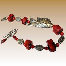 "19"" Fish Design Bamboo Coral & Silvertone Bead Necklace"