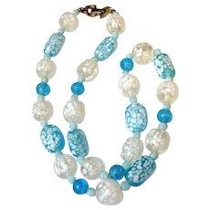 "Vintage Confetti Art Glass 16"" Choker Necklace"