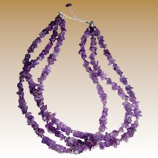 """Beautiful 19"""" Sterling & Amethyst Nugget 3 Strand Necklace"""