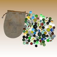 100 Vintage Playing Marbles: Shooters, Confetti, Agates, Clearies, Opaques, Frosties, Swirls, Cats Eyes in Summit Fishing Reel Bag