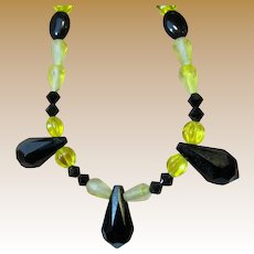 "Art Deco Yellow Art Glass & Jet 21"" Necklace"