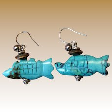 Hand Carved Chinese Turquoise Fish Earrings