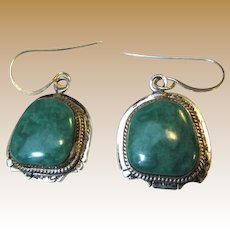 Arkie Nelson Signed Sterling Blue Green Turquoise Earrings, 13.9 grams