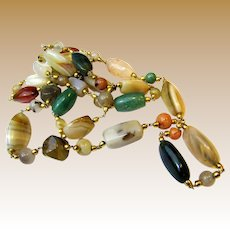 "38"" Mixed Agate & Goldtone Necklace"