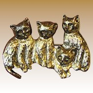 Sweet Goldtone Kitty Pin