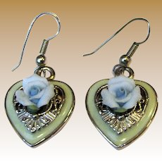 Romantic Heart Earrings w/ Ceramic Flowers