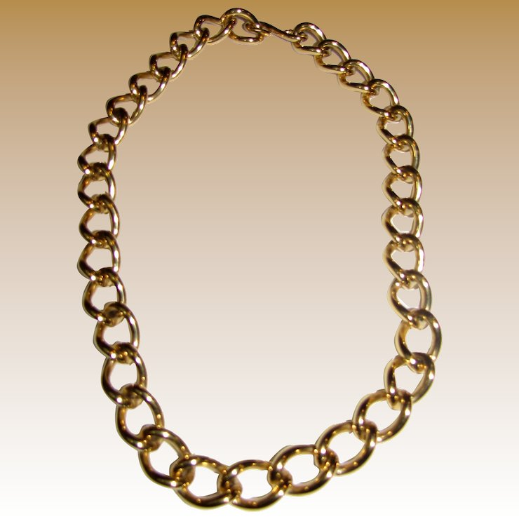 ee4b05056f3bc6 Bold Vintage Monet Gold Tone Chain Link Choker Necklace Fay Wray. Monet  Bracelet Ebay. Shop Vintage Monet Costume Jewelry ...