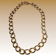 Bold Vintage Monet Gold Tone Chain Link Choker Necklace