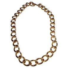 Bold Vintage Monet Gold Tone Chain Link Choker Necklace