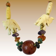 "Elephant Design Hand Carved Bone 24"" Tribal Necklace"