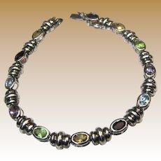 "Sterling & Colored Gemstone Bracelet, 7 1/2"", 12.7 grams"